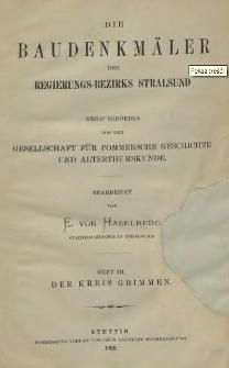 Die Baudenkmäler des Regierungs-Bezirks Stralsund. T.1, H.3, Der Kreis Grimmen