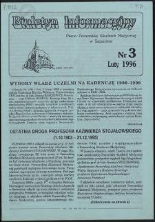Biuletyn Informacyjny : Pomorska Akademia Medyczna w Szczecinie. Nr 3, Luty 1996