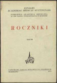 Annales Academiae Medicae Stetinensis = Roczniki Pomorskiej Akademii Medycznej w Szczecinie. 1975, 21