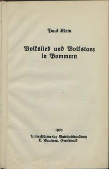 Volkslied und Volkstanz in Pommern