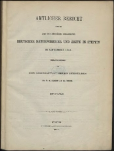 Amtlicher Bericht über die acht und dreissigste Versammlung Deutscher Naturforscher und Ärzte in Stettin im September 1863