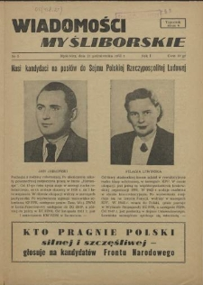 Wiadomości Myśliborskie. R.1, 1952 nr 5