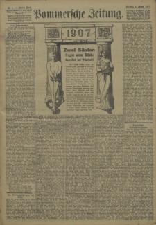Pommersche Zeitung : organ für Politik und Provinzial-Interessen. 1907 Nr.1 Blatt 1