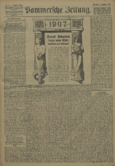 Pommersche Zeitung : organ für Politik und Provinzial-Interessen. 1907 Nr. 11 Blatt 2