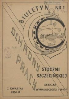 Biuletyn Ochrony Pracy Stoczni Szczecińskiej. 1954 nr 1
