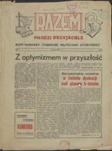 Razem Młodzi Przyjaciele : pismo młodzieży studenckiej Politechniki Szczecińskiej. 1956 nr 4