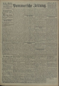 Pommersche Zeitung : organ für Politik und Provinzial-Interessen. 1907 Nr. 181 Blatt 1