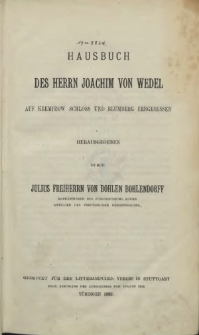 Hausbuch des Herrn Joachim von Wedel auf Krempzow Schloss und Blumberg erbgesessen