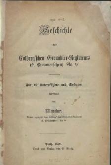 Geschichte des Colberg'schen Grenadier-Regiments : (2. Pommerschen) No. 9