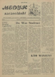 Medyk Szczeciński : pismo studentów Pomorskiej Akademii Medycznej. 1955 nr 7
