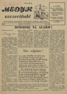 Medyk Szczeciński : pismo studentów Pomorskiej Akademii Medycznej. 1955 nr 8-9