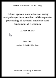 Helium speech normalisation using analysis-synthesis method with separate processing of spectral envelope and fundamental frequency