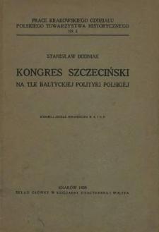 Kongres szczeciński na tle bałtyckiej polityki polskiej