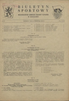 Biuletyn Sportowy Wojewódzkiego Komitetu Kultury Fizycznej w Szczecinie. 1955 nr 8