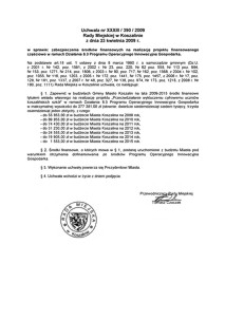 Uchwała Rady Miejskiej w Koszalinie nr XXXIII/390/2009