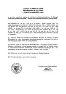 Uchwała Rady Miejskiej w Koszalinie nr XXXIII/392/2009