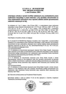 Uchwała Rady Miejskiej w Koszalinie nr XXXIII/397/2009