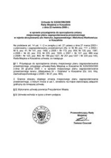 Uchwała Rady Miejskiej w Koszalinie nr XXXIII/399/2009
