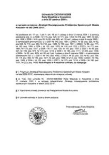 Uchwała Rady Miejskiej w Koszalinie nr XXXVII/418/2009