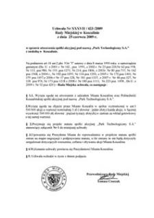 Uchwała Rady Miejskiej w Koszalinie nr XXXVII/423/2009