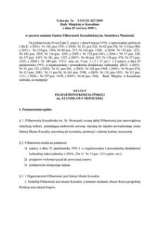 Uchwała Rady Miejskiej w Koszalinie nr XXXVII/427/2009