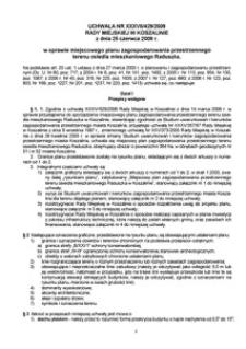Uchwała Rady Miejskiej w Koszalinie nr XXXVII/429/2009