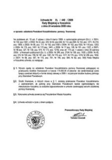 Uchwała Rady Miejskiej w Koszalinie nr XL/440/2009