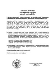 Uchwała Rady Miejskiej w Koszalinie nr XL/441/2009