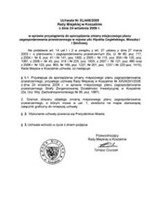 Uchwała Rady Miejskiej w Koszalinie nr XL/448/2009