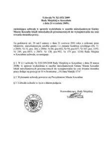 Uchwała Rady Miejskiej w Koszalinie nr XL/452/2009