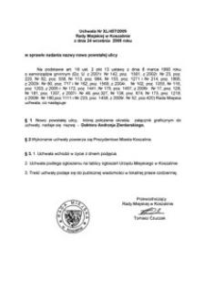 Uchwała Rady Miejskiej w Koszalinie nr XL/457/2009