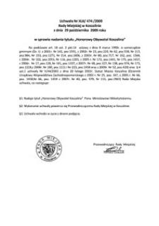 Uchwała Rady Miejskiej w Koszalinie nr XLII/474/2009