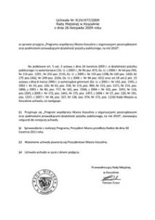 Uchwała Rady Miejskiej w Koszalinie nr XLIV/477/2009