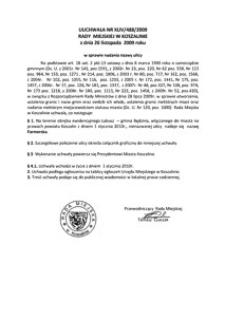 Uchwała Rady Miejskiej w Koszalinie nr XLIV/488/2009