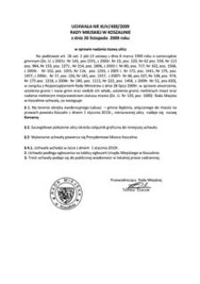 Uchwała Rady Miejskiej w Koszalinie nr XLIV/489/2009