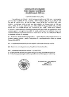 Uchwała Rady Miejskiej w Koszalinie nr XLIV/491/2009
