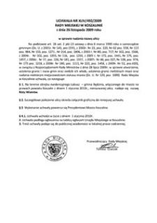 Uchwała Rady Miejskiej w Koszalinie nr XLIV/492/2009
