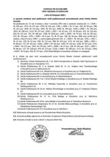 Uchwała Rady Miejskiej w Koszalinie nr XLIV/528/2009