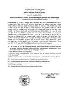 Uchwała Rady Miejskiej w Koszalinie nr XLIV/529/2009