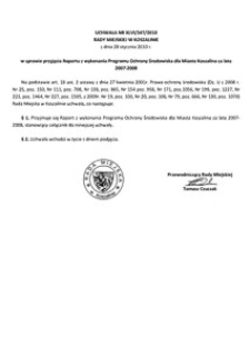 Uchwała Rady Miejskiej w Koszalinie nr XLVI/547/2010