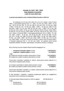 Uchwała Rady Miejskiej w Koszalinie nr XLIX/582/2010