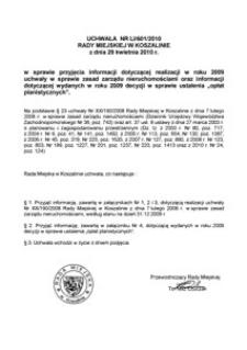 Uchwała Rady Miejskiej w Koszalinie nr LI/601/2010