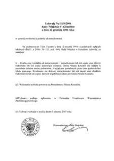 Uchwała Rady Miejskiej w Koszalinie nr III/9/2006