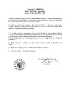 Uchwała Rady Miejskiej w Koszalinie nr III/14/2006