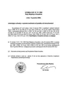 Uchwała Rady Miejskiej w Koszalinie nr III/15/2006