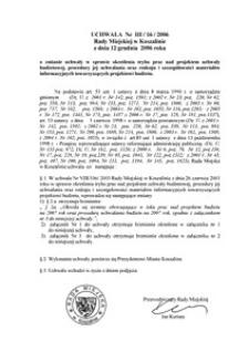 Uchwała Rady Miejskiej w Koszalinie nr III/16/2006