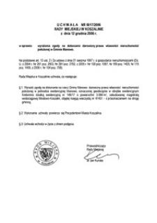 Uchwała Rady Miejskiej w Koszalinie nr III/17/2006