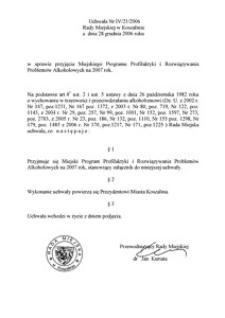 Uchwała Rady Miejskiej w Koszalinie nr IV/21/2006