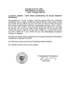Uchwała Rady Miejskiej w Koszalinie nr VII/27/2007