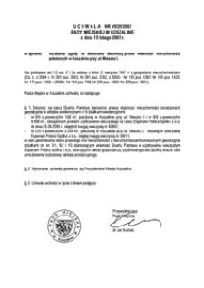 Uchwała Rady Miejskiej w Koszalinie nr VII/29/2007